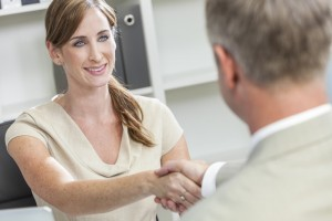 Man Woman Businessman Businesswoman Shaking Hands